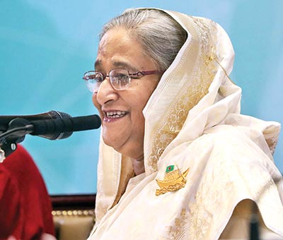 Prime Minister Sheikh Hasina making a point at the post-budget press conference at Bangabandhu International Conference Centre in the capital on Friday.	Photo: PMO