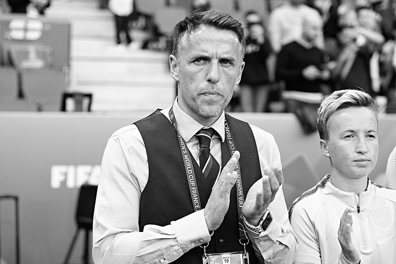 England's coach Phil Neville claps prior to the France 2019 Women's World Cup Group D football match between England and Argentina, on June 14, 2019, at the Oceane Stadium in Le Havre, northwestern France.photo: AFP