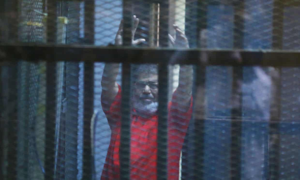 Mohamed Morsi pictured while on trial in 2016. Photograph: Anadolu Agency/Getty