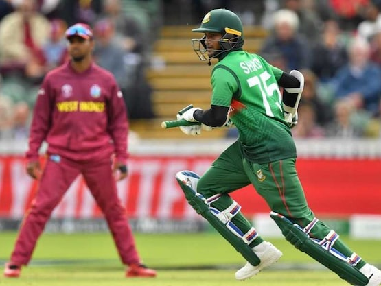 WI vs BAN Live Score, Cricket World Cup Match: Shakib Al Hasan brings up his 9th ODI hundred.