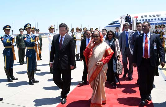 Red carpet rolled out for PM Hasina in Beijing