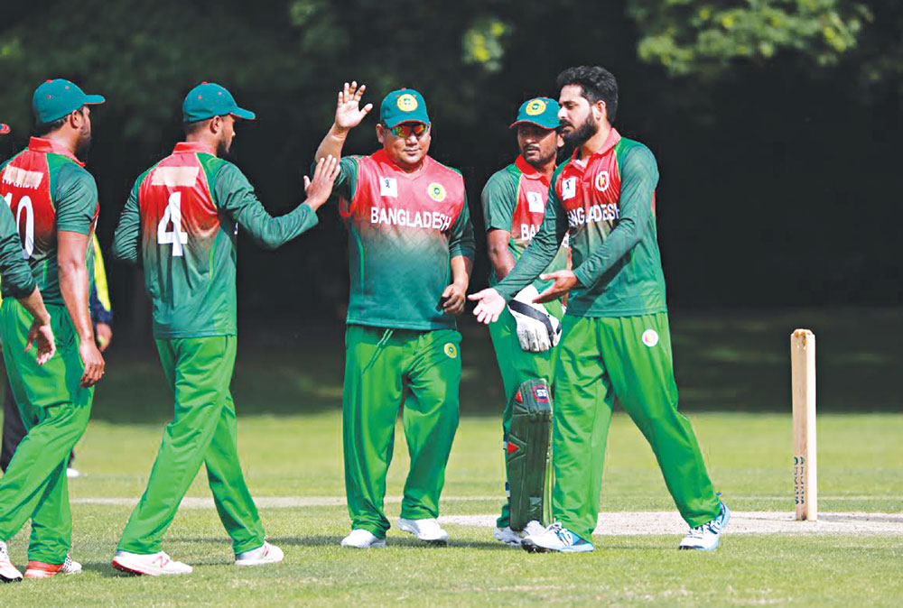 Bangladesh Parliamentary Cricket team celebrating after beating Pakistan in the Inter-Parliamentary Cricket World Cup (IPCWC) by 12 runs at Burlington Gardens, Chiswick in London on Thursday. photo: UNB