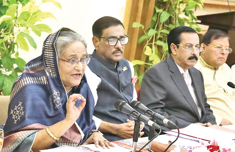 Awami League President and Prime Minister Sheikh Hasina addressing the joint meeting of Awami League Central Working Committee and Advisory Council at Ganobhaban on Friday.photo : PMO