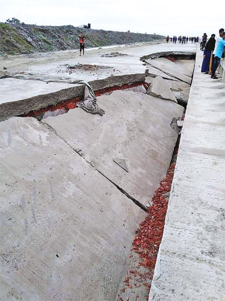 A portion of Chattogram Outer Ring Road caved in before its opening. The photo was taken on Saturday.photo: Observer