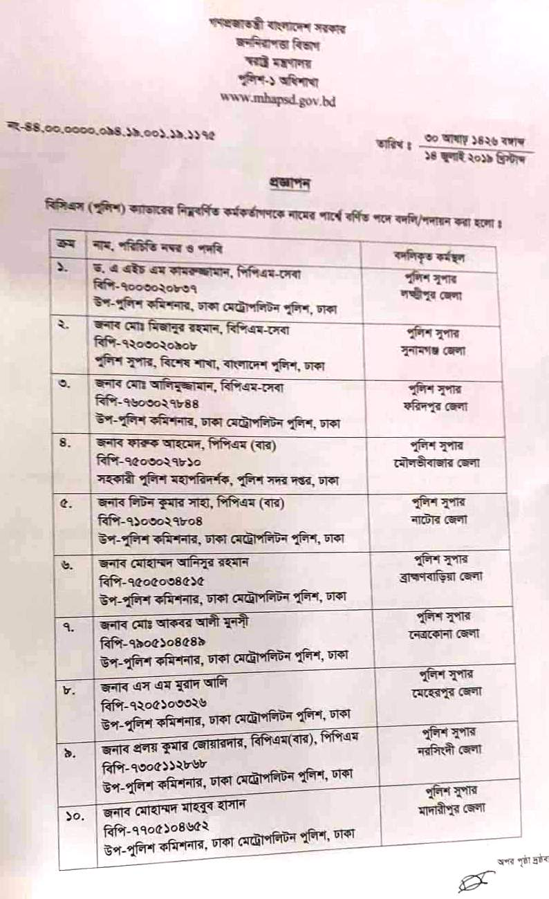 11 police officials transferred