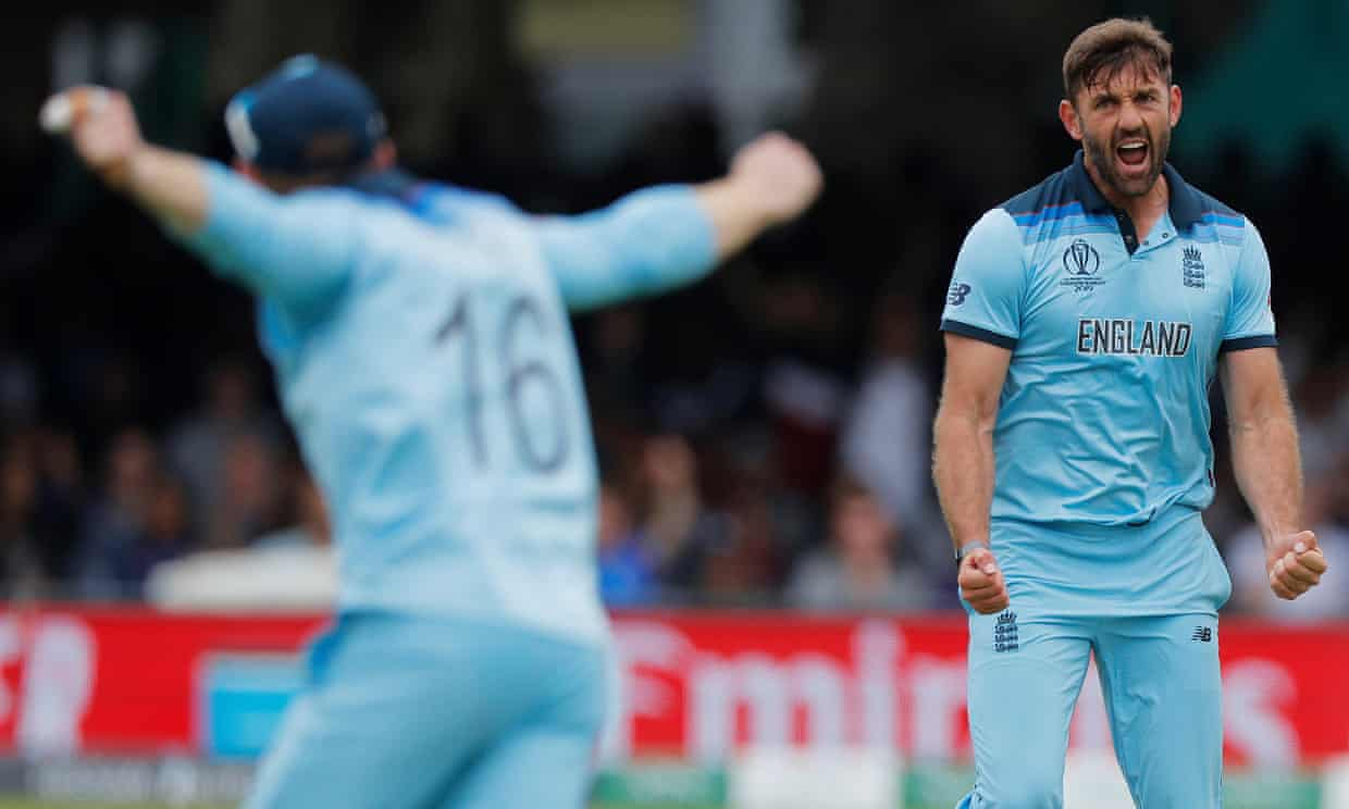 Liam Plunkett of England celebrates after taking the wicket of Kane Williamson of New Zealand. Photograph: Tom Jenkins/The Guardian