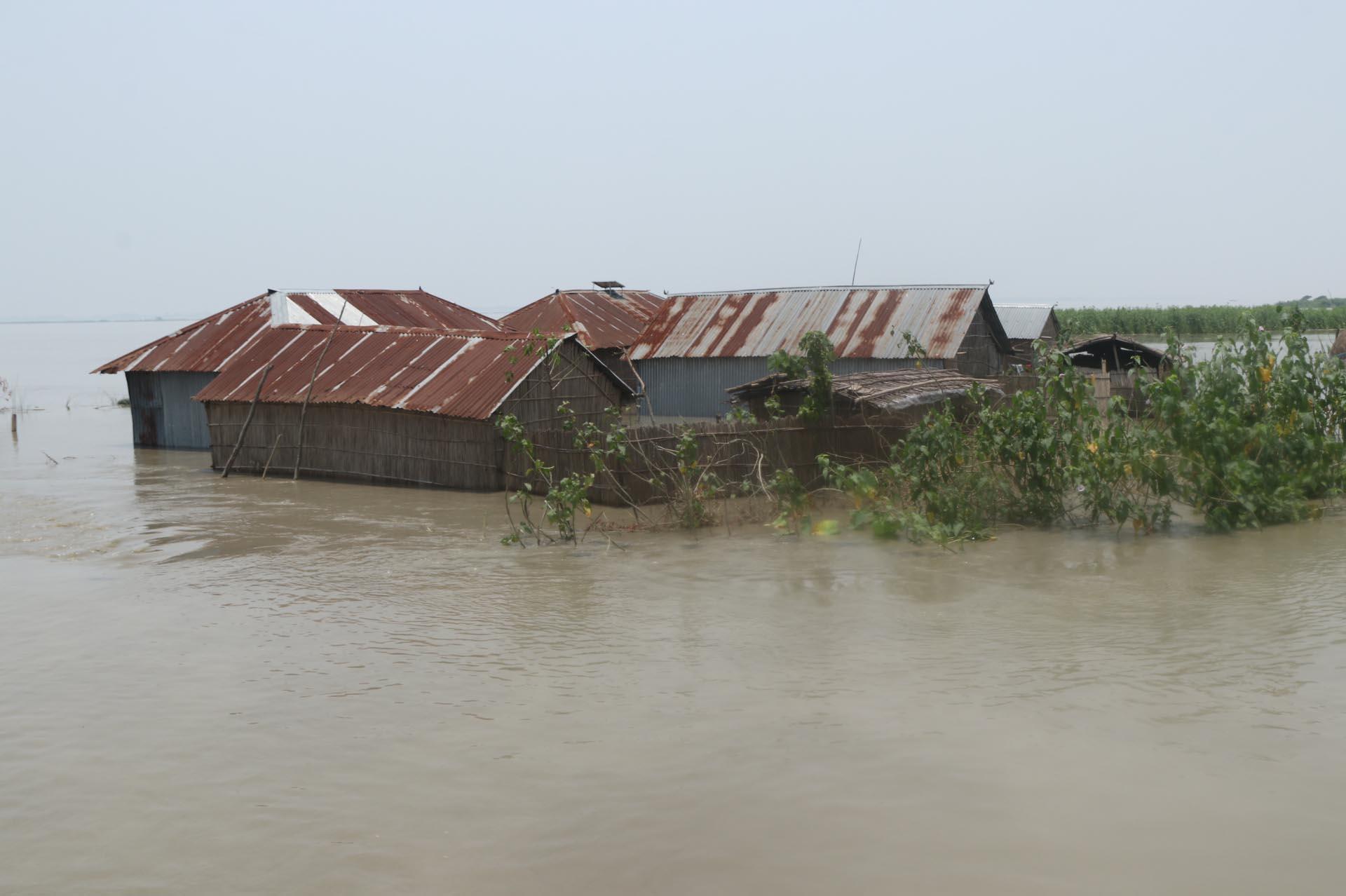 Flood inundating fresh areas in Bogura