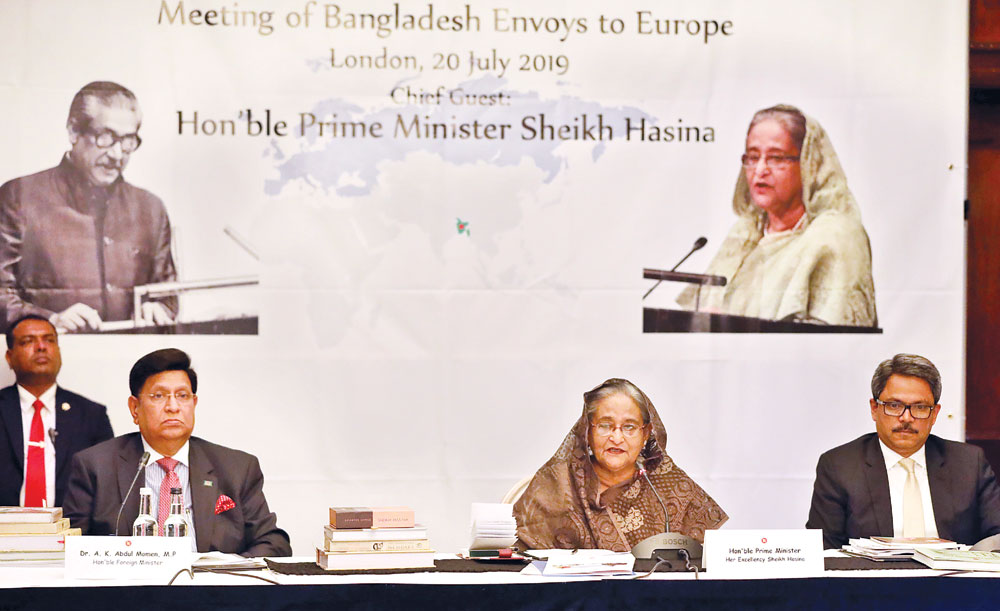 Prime Minister Sheikh Hasina speaking at the first-ever Bangladeshi envoys conference at London in England on Saturday.Photo: BSS