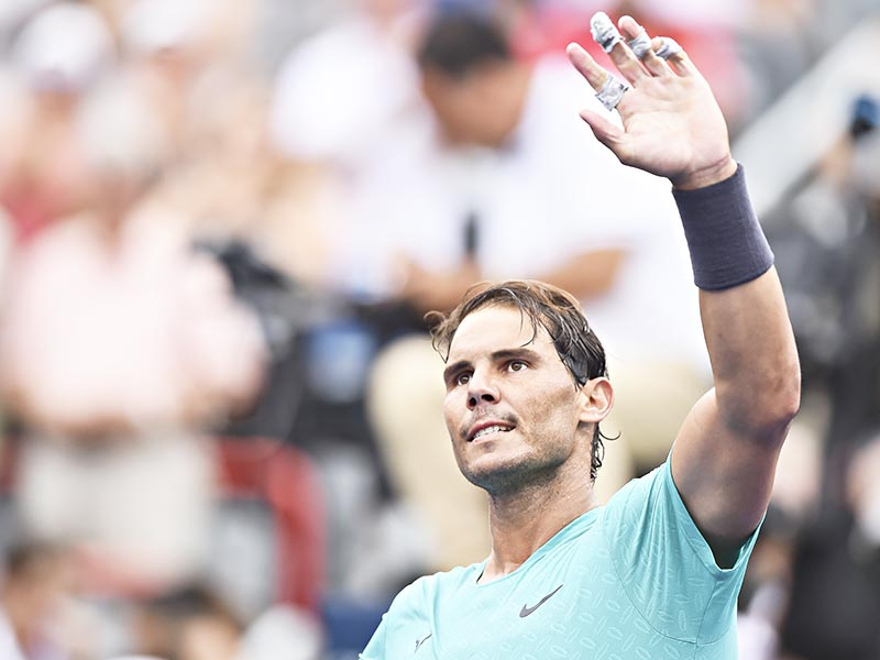 Rafael Nadal of Spain celebrates his 7-6, 6-4 victory over Daniel Evans of Great Britain during day 6 of the Rogers Cup at IGA Stadium on August 7, 2019 in Montreal, Quebec, Canada.	photo: AFP