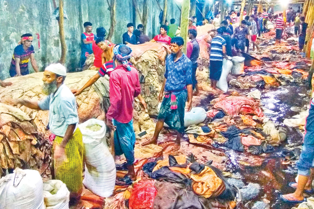 Seasonal traders pile the rawhides of sacrificial animals at Posta in Lalbagh for sale. The photo was taken on Thursday.	photo: Observer