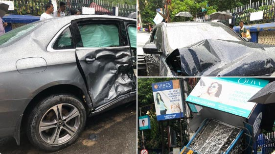 Two Bangladeshi citizens were killed and another injured in a bizarre late- Friday-night road accident in south Kolkata when a Jaguar travelling at high speed hit a Mercedes sedan which was flung on a Kolkata Police traffic post killing the victims who had taken shelter under it from rain.