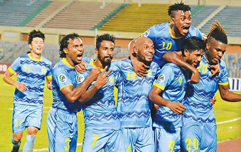 Abahani booters celebrating after scoring in the Inter-zone play-off semi-finals of AFC Cup 2019 in a match against April 25 Sports Club of North Korea on Wednesday at the Bangabandhu National Stadium in Dhaka. 	photo: BFF