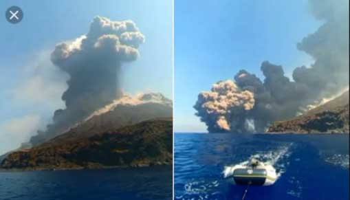 Boaters rush to safety as volcano erupts on island