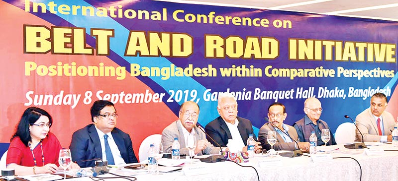 Industries Minister Nurul Majid Mahmud Humayun speaking at an international seminar titled 'Belt and Road Initiative, Positioning Bangladesh within Comparative Perspective' organised by Centre for Policy Dialogue at a hotel in the capital on Sunday.