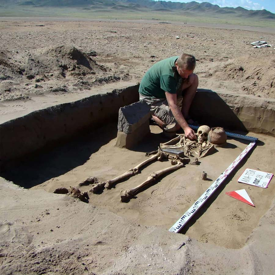 The discovery was made in the normally submerged 'Atlantis necropolis' Credit: IHMC RAS/Pavel Leus