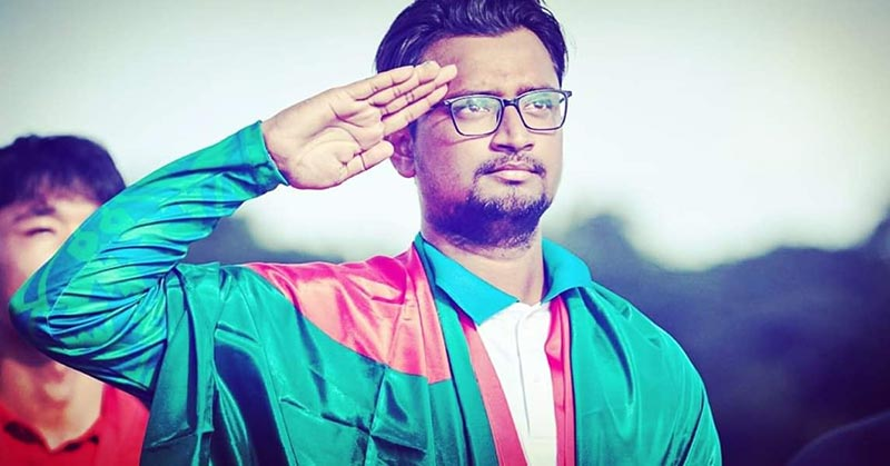 Bangladesh archer Ruman Shana saluting after winning the nation's first gold medal in any international Archery event following a win in the final of individual recurve men's event of Asia Cup Stage 3 World Ranking Archery 2019 on Friday in Philippines.	photo: FACEBOOK