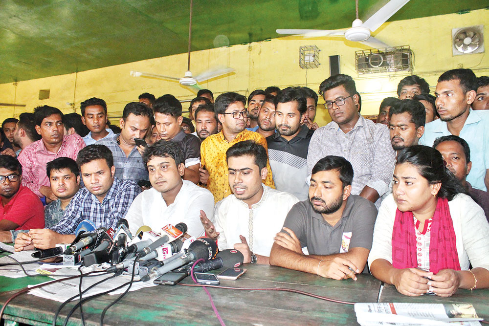 Newly Chhatra League acting president Al Nahian Khan Joy speaking at a press briefing at Madhur Canteen of Dhaka University on Sunday. BCL acting General Secretary Lekhak Bhattacharjee, among others, were present at the  programme.	PHOTO: OBSERVER