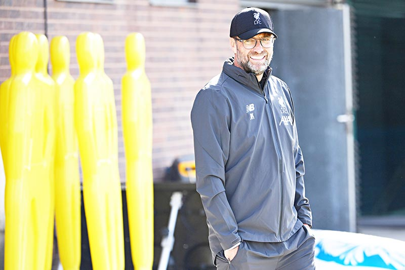 Liverpool's German manager Jurgen Klopp leads a training session at their Melwood complex, Liverpool, north west England on the eve of their Champions league group stage football match against Napoli on September 16, 2019.	photo: AFP