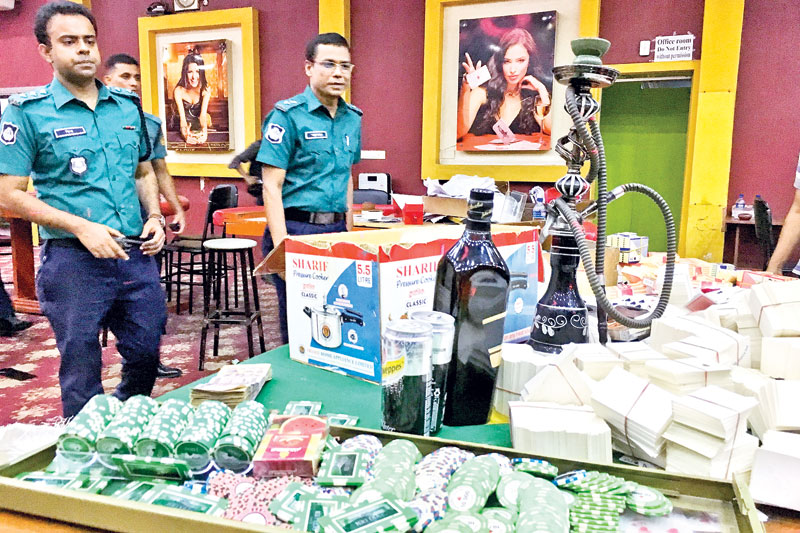 Police find various casino-style gambling equipment inside Motijheel's Victoria Club during a raid on Sunday as part of the crackdown on illegal gambling establishments.PHOTO: OBSERVER