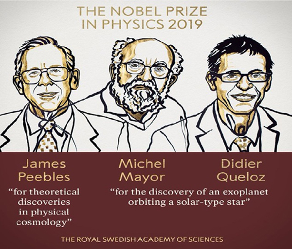 Peebles, Mayor and Queloz win 2019 Nobel Prize in Physics