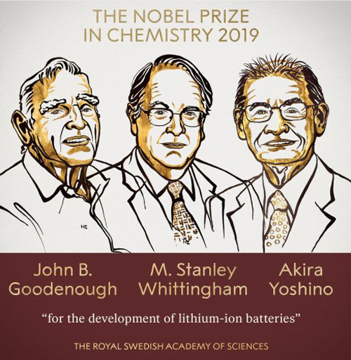 Goodenough, Whittingham and Yoshino win Nobel Prize for chemistry