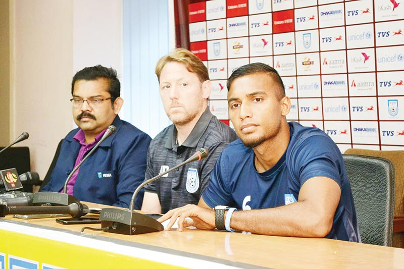Bangladesh Skipper Jamal Bhuiyan (R) answering questions on the eve of the match against Qatar along with Bangladesh coach James Day in the press conference at the BFF Bhaban on Wednesday. photo: BFF