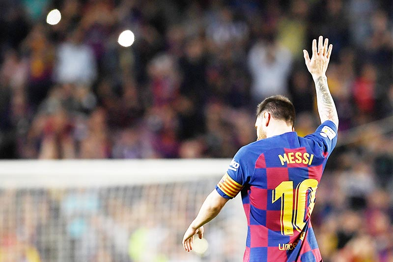 Barcelona's Argentine forward Lionel Messi celebrates his goal during the Spanish league football match between FC Barcelona and Sevilla FC at the Camp Nou stadium in Barcelona on October 6, 2019.photo: AFP