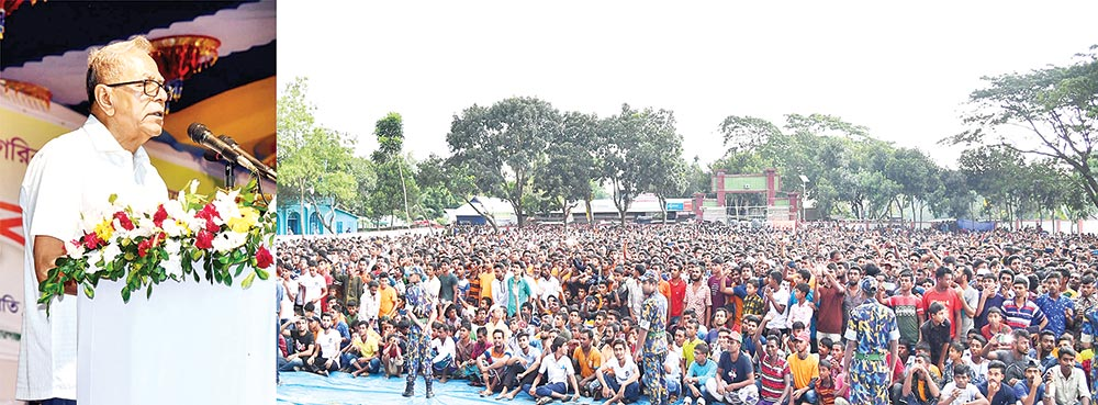 President Abdul Hamid addressing a public gathering at Tarail Muktijouddha Degree College ground on Wednesday afternoon. He is now on a weeklong tour to his native district Kishoreganj.photo: pid