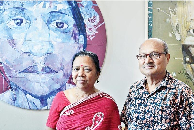 Tandra Das with her husband seasoned painter Ranjit Das