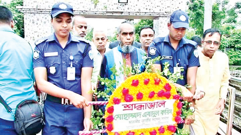 To mark the Kharghor Genocide Day, wreath being placed on the martyrs' monument in Kharghor Village under Nabinagar Upazila of Brahmanbaria on Thursday. photo: Observer