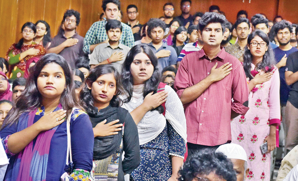 BUET students on Wednesday taking oath to resist terrorism and fundamentalism on the campus  following days of protest demanding justice for their fellow Abrar Fahad, who was brutally murdered.