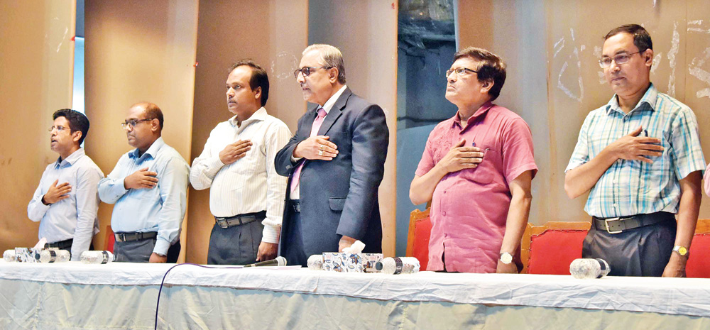 Vice Chancellor of BUET Saiful Islam and deans of faculties and hall provosts also took part in the oath taking programme.photo: Observer