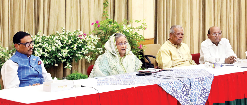 Prime Minister Sheikh Hasina, also president of the Awami League, speaking at a meeting with top Jubo League  leaders at Ganobhaban on Sunday.	PHOTO: BSS