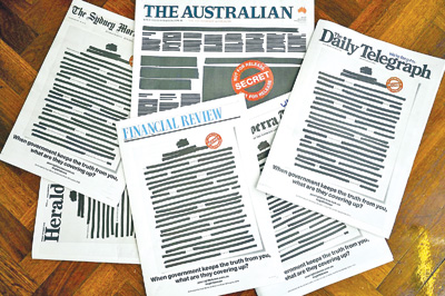 Australian newspapers black out front pages to protest media curbs