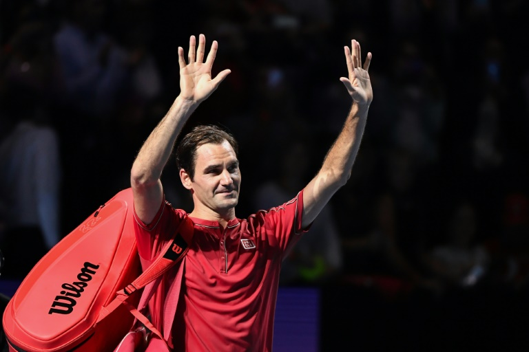 Federer acknowledges crowd in Basel after 1,500th career win. Photo:AFP