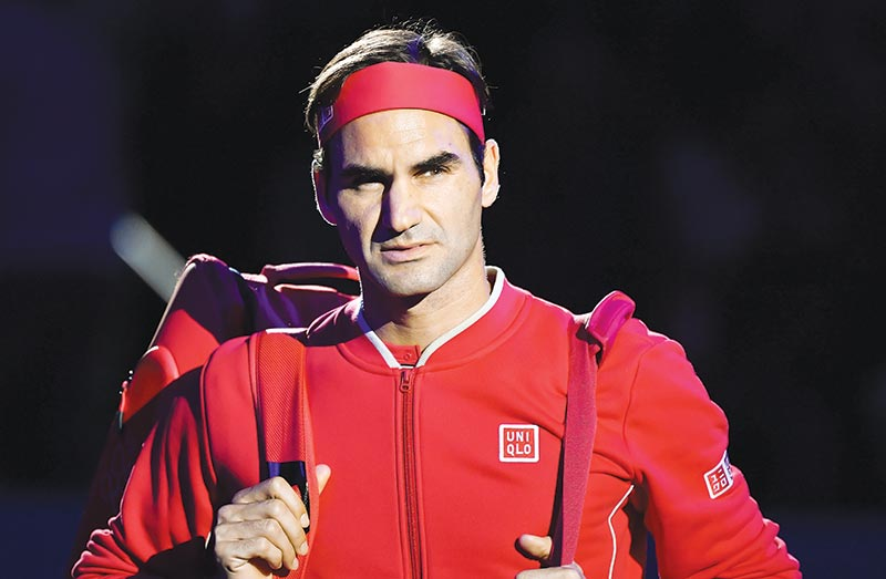 Swiss Roger Federer enters the court to play against Germany's Peter Gojowczyk for the 1,500th match of his career at the opening day of the Swiss Indoors tennis tournament on October 21, 2019 in Basel.