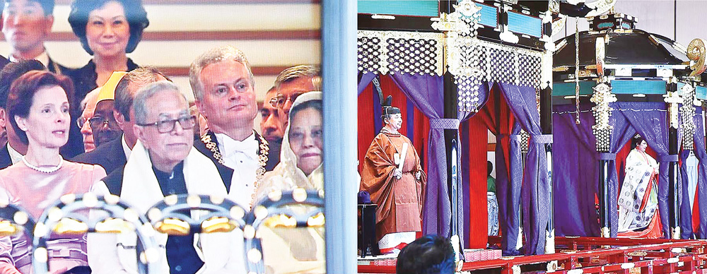 President M Abdul Hamid and his spouse Rashida Khanam attending Japanese new Emperor Naruhito's enthronement ceremony at the Seiden State Hall in Japan on Tuesday.	photo : pid