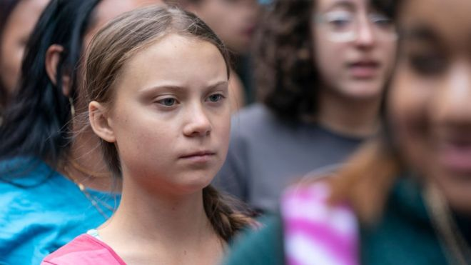 Greta Thunberg started international strikes and protests over climate change. GETTY IMAGES