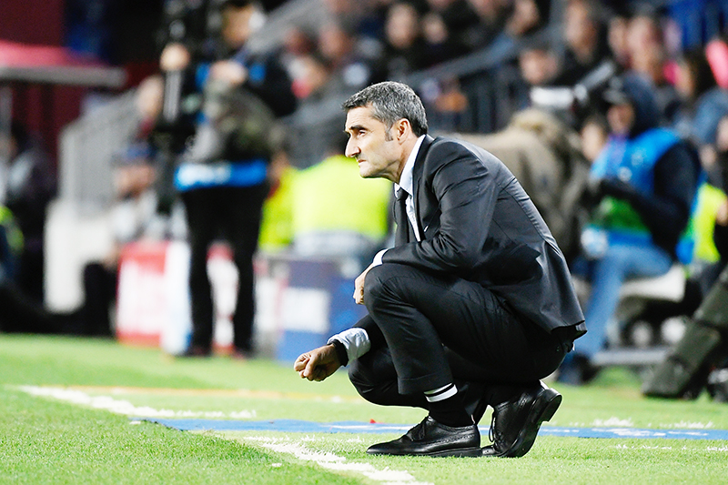 Barcelona's Spanish coach Ernesto Valverde looks on during the UEFA Champions League group F football match between FC Barcelona and SK Slavia Prague at the Camp Nou  stadium in Barcelona on November 5, 2019.photo: AFP