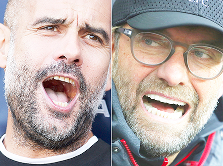 A combination of file pictures created in London on November 7, 2019 shows Manchester City's Spanish manager Pep Guardiola reacting ahead of the English Premier League football match between Manchester City and Tottenham Hotspur at the Etihad Stadium in Manchester, north west England, on August 17, 2019, and Liverpool's German manager Jurgen Klopp looking on during the English Premier League football match between Aston Villa and Liverpool at Villa Park in Birmingham, central England on November 2, 2019.photo: AFP