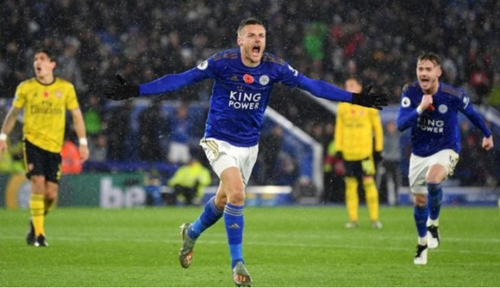 Jamie Vardy is the top scorer in the Premier League this season. Getty Images