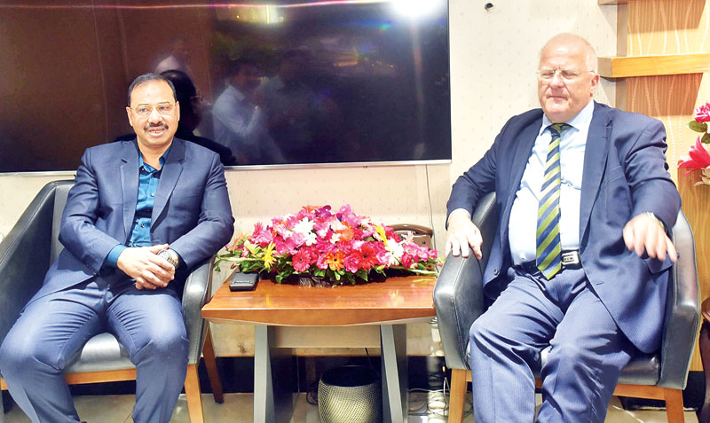 German Ambassador in Bangladesh paid a courtesy call on Chattogram City Coporation Mayor AJM Nasir Uddin at the latter's office in the port city on Monday. 	photo: observer