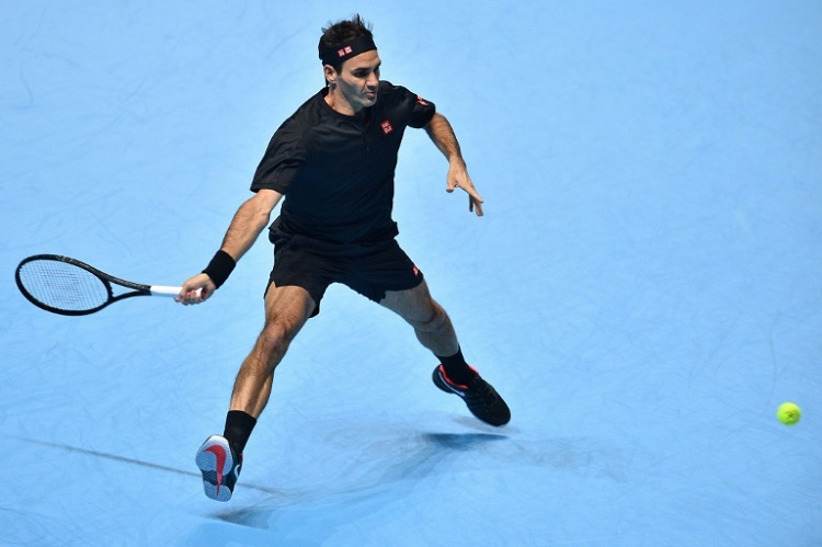 Roger Federer in action against Matteo Berrettini at the ATP Finals. AFP