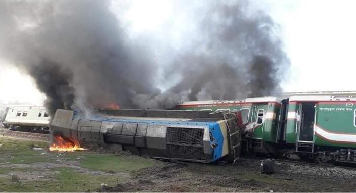 'Rangpur Express' catches fire after derailment