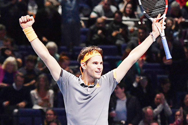 Austria's Dominic Thiem celebrates his straight sets victory over Germany's Alexander Zverev in the men's singles semi-final match on day seven of the ATP World Tour Finals tennis tournament at the O2 Arena in London on November 16, 2019.	photo: AFP
