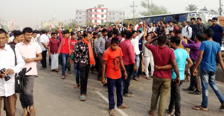 Transport workers block Dhaka-Mymensingh highway
