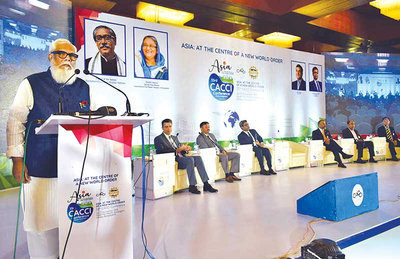 Prime Minister's Private Industry and Investment Adviser Salman F Rahman speaking at the inauguration of CACCI conference at Pan pacific Sonargaon hotel in Dhaka on Tuesday.