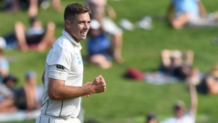 Cricket - New Zealand v England - Second Test - Seddon Park, Hamilton, New Zealand - November 30, 2019 New Zealand's Tim Southee celebrates during the match --Ross Setford/REUTERS