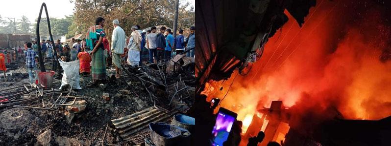 Fire guts 19 shops in Laxmipur