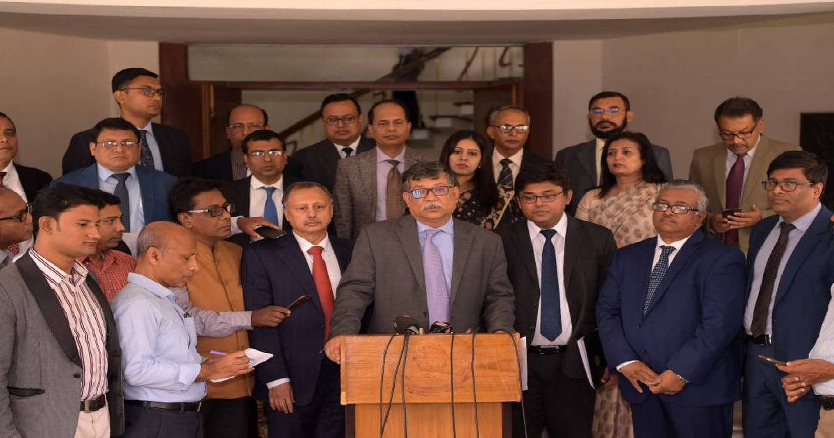 Secretary (Asia and Pacific) at Ministry of Foreign Affairs Masud Bin Momen briefs media at State guesthouse Meghna in Dhaka on Tuesday, December 3, 2019 after the 2nd FOC with the Philippines. Photo:Courtesy